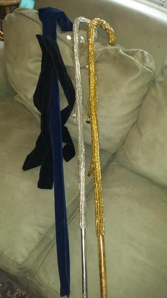 Sequin cane, gold , silver, fushia- NEW
