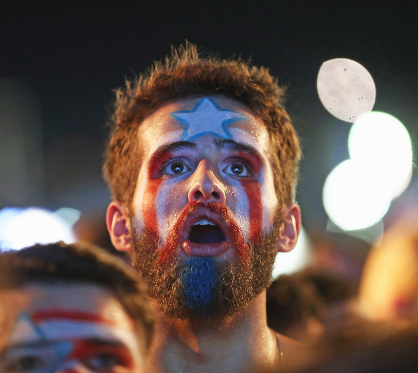 . USA soccer fans watch their team play against Portugal at the FIFA Fan Fest on Copacabana beach June 22, 2014 in Rio de Janeiro, Brazil.  (Photo by Joe Raedle/Getty Images)