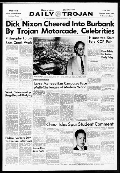 Daily Trojan, Vol. 52, No. 18, October 12, 1960