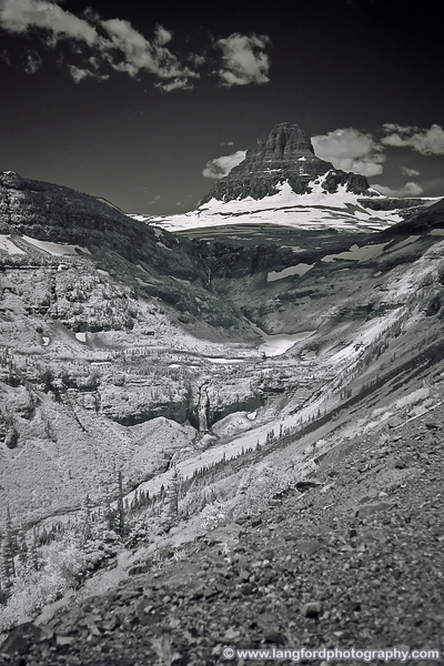 This infrared scene was captured from a turnout just to the East of Logan's Pass. This picture really doesn't capture the scale of this valley.