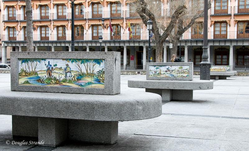 Wed 3/09 in Toledo: Plaza benches with Don Quixote tiles