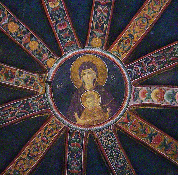 13-Kariye Museum. A close-up of the Virgin and child (painted dome of the parecclesion of Chora Church).