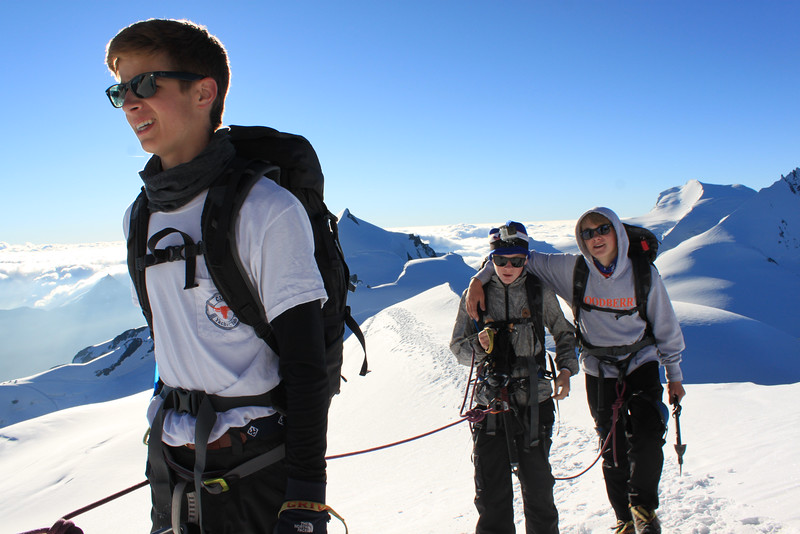 Whit, Charlie, and Rives walking along the top of Alphubel (4,206 meters)