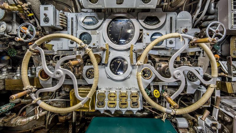 USS Cavalla (SS-244) Submarine Diving Controls, Galveston TX