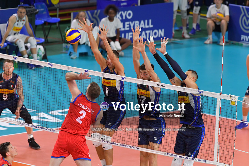 ITALIA vs SERBIA, 2019 FIVB Intercontinental Olympic Qualification Tournament - Men's Pool C IT, 11 agosto 2019. Foto: Michele Benda per VolleyFoto.it [riferimento file: 2019-08-11/ND5_7037]