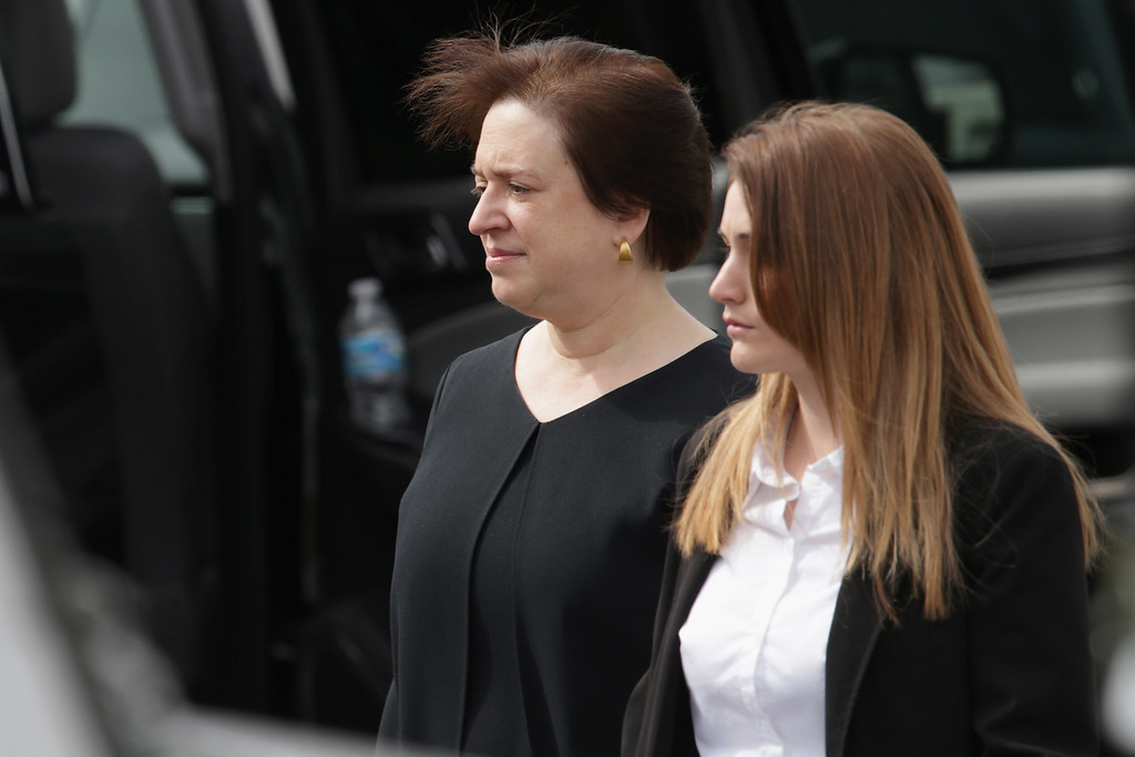 . U.S. Supreme Court Associate Justice Elena Kagan (L) leaves the the Basilica of the National Shrine of the Immaculate Conception after attending fellow Associate Justice Antonin Scalia\'s funeral February 20, 2016 in Washington, DC. Scalia, who died February 13 while on a hunting trip in Texas, layed in repose in the Great Hall of the Supreme Court on Friday and his funeral service will be at the basillica today.  (Photo by Chip Somodevilla/Getty Images)