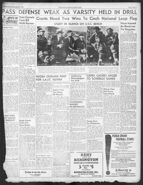 Daily Trojan, Vol. 29, No. 9, September 29, 1937