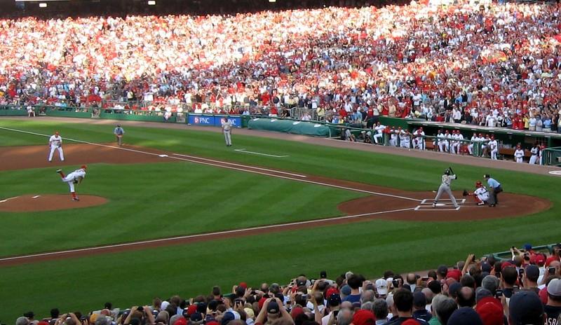 Stephen Strasburg's first major league pitch, a ball