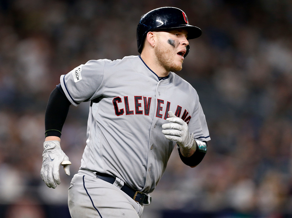 . Cleveland Indians\' Roberto Perez rounds the bases after hitting a solo home run against the New York Yankees during the fifth inning in Game 4 of baseball\'s American League Division Series, Monday, Oct. 9, 2017, in New York. (AP Photo/Kathy Willens)