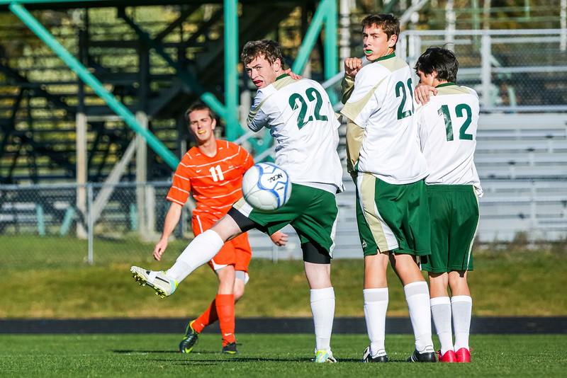 Vikings Ryan Samson, Luke Davidson and Connor Gordon set a wall on a Brunswick direct kick by Ryan Black.  The shot was saved by Jake Beauchesne in the team's 4-1 loss to the Dragons. The boys play Friday the 18th at home against Skowhegan.