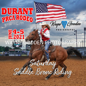 Durant PRCA Rodeo 2021 - Saturday Saddle Bronc