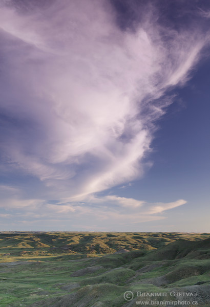 Colourful clouds at sunset. Grasslands National Park, Saskatchewan