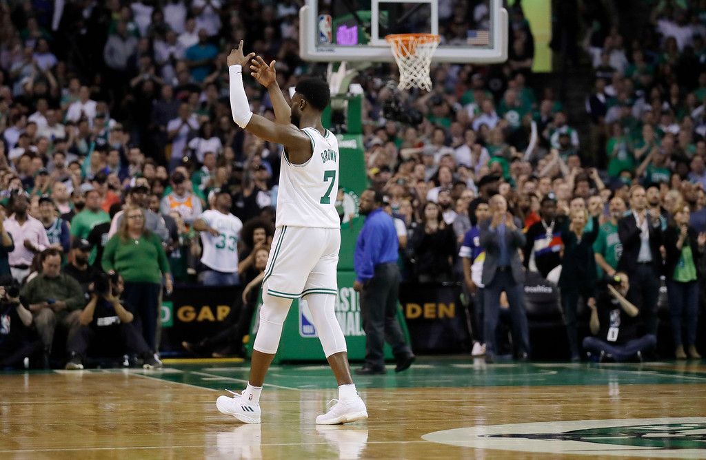 . Boston Celtics guard Jaylen Brown celebrates a basket during the second half in Game 2 of the NBA basketball Eastern Conference finals against the Cleveland Cavaliers, Tuesday, May 15, 2018, in Boston. (AP Photo/Charles Krupa)