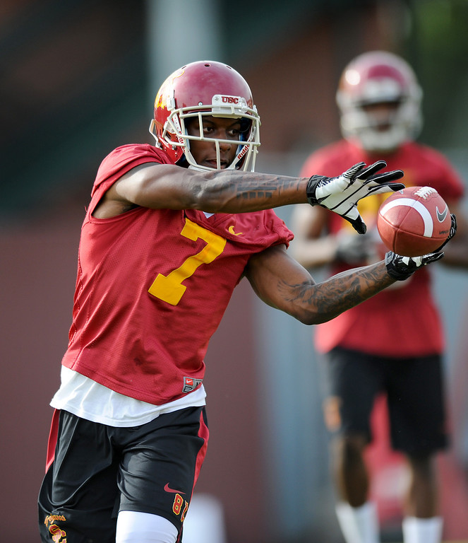 . USC WR Steven Mitchell catches a pass at spring practice, Tuesday, March 11, 2014, at USC. (Photo by Michael Owen Baker/L.A. Daily News)