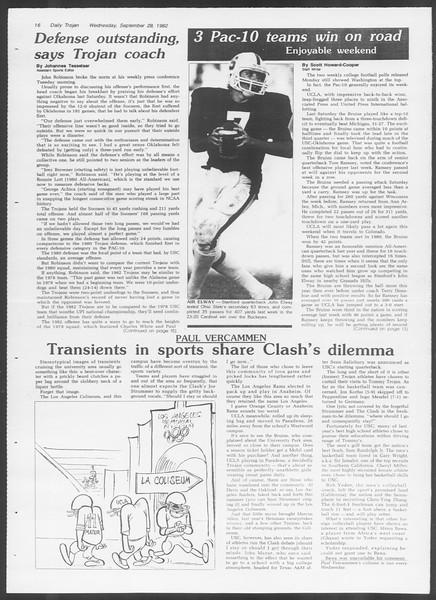 Daily Trojan, Vol. 92, No. 17, September 29, 1982