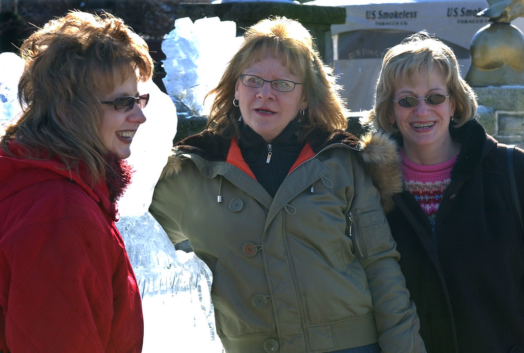 ". Marian Long, left, of Shenandoah, Pa.; and her sister Judy Hjelm, right, of Harrisburg, Pa.; and their friend Marilyn Veganski, center, of South Tamaqua,  Pa., are in Puxsutawney, Pa., Tuesday, Feb. 1, 2005 for their first Groundhog Day. ""It was called a girls wanna have fun trip.\"" (AP Photo/Keith Srakocic)"