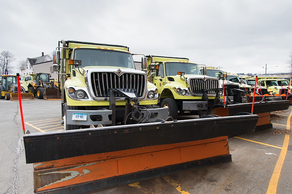 01/17/19 Wesley Bunnell | Staff A line up of snow plows are parked at the New Britain Public Works Department last month.