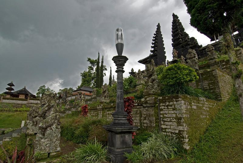 Light post near shrine steps at Mother Temple of Besakih in Bali