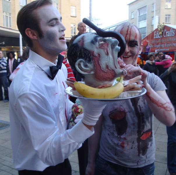 Most of the zombies were very hungry for brains.