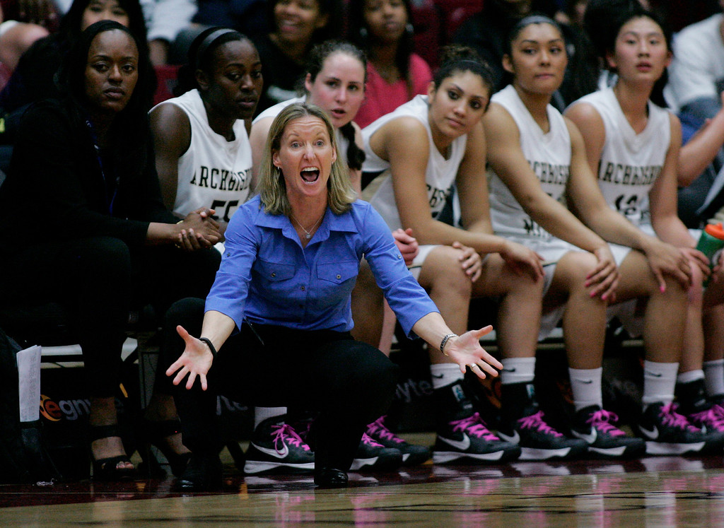 . Mitty coach Sue Phillips gets after her team in the first quarter during the CCS Open Division girls basketball finals at Santa Clara University in Santa Clara, Calif. on Saturday, March 2, 2013. The Archbishop Mitty Monarchs played the Saint Francis Lancers. (Jim Gensheimer/Staff)
