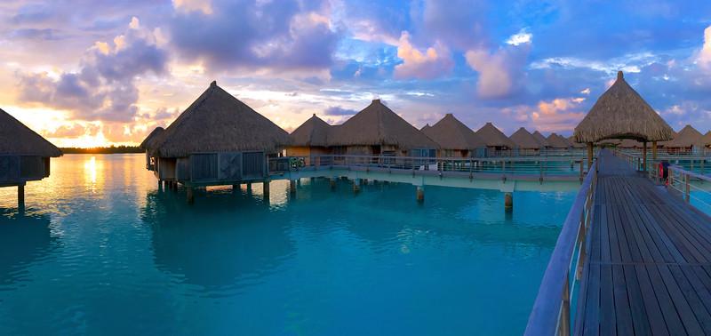 Over water bungalow sunrise - St. Regis Resort - Bora Bora