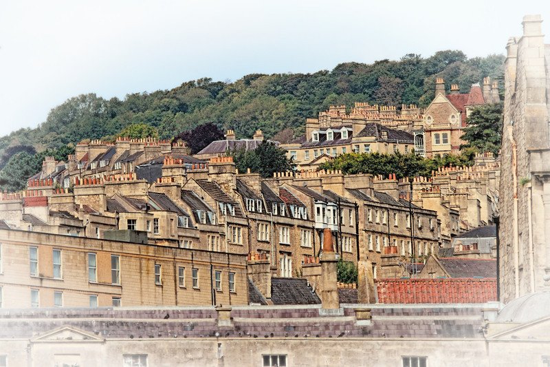 Terrace Houses built out of Bath Stone (honey coloured limestone) in Bath