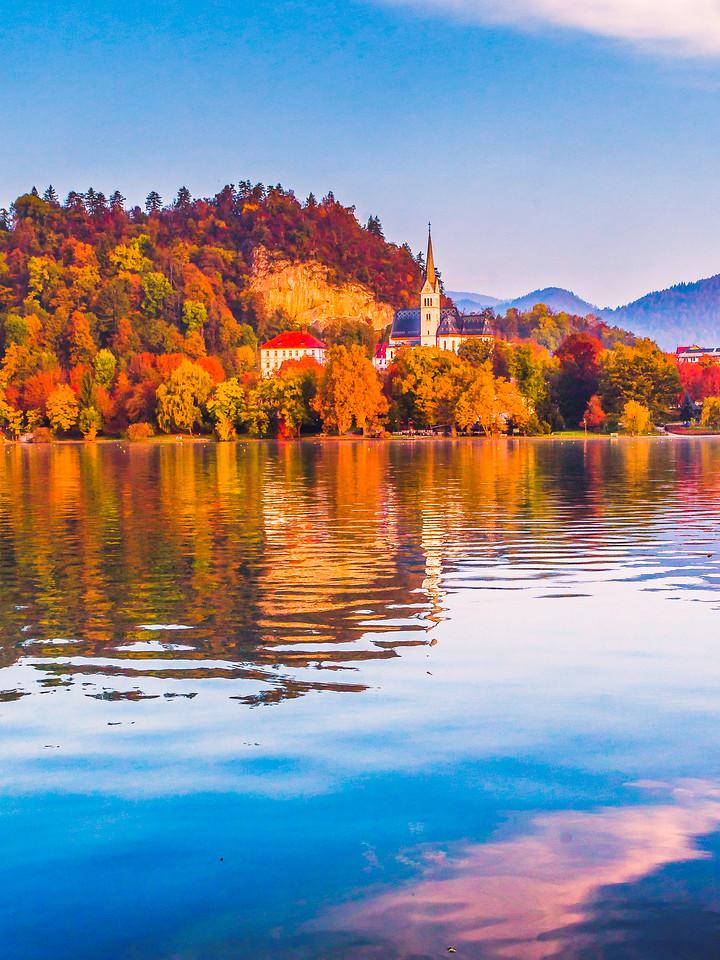 斯洛文尼亚布莱德湖(Lake Bled),清晨湖色