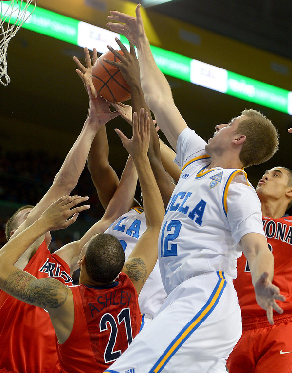 . UCLA\'s David Wear hits the boards against Arizona, Thursday, January 9, 2014, at Pauley Pavilion. (Photo by Michael Owen Baker/L.A. Daily News)