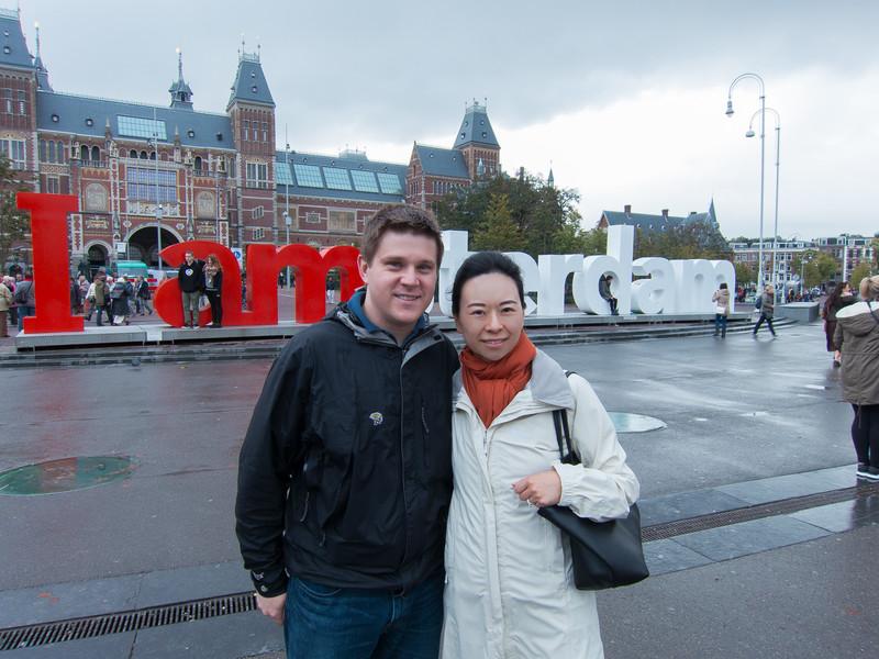Standing in front of the Rijksmuseum.