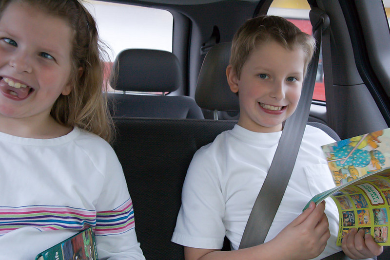 This is the kids on the drive back home.  Somebody was glad to have a little sister!