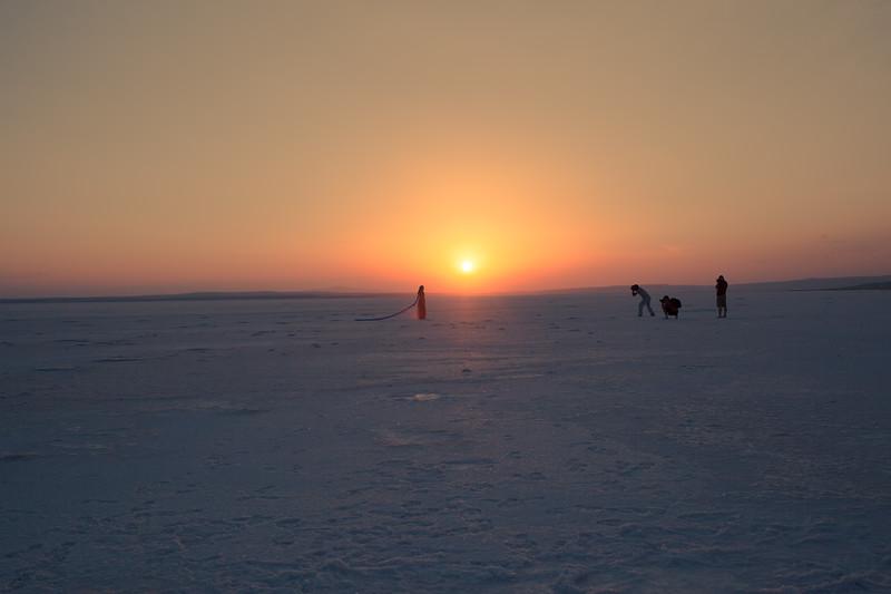 Shooting on a salt lake (Turkey)