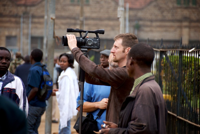 Andy Brown filming downtown Nairobi  OFM team
