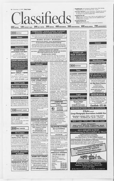 Daily Trojan, Vol. 141, No. 47, November 03, 2000