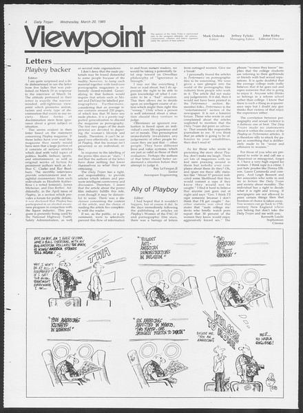 Daily Trojan, Vol. 98, No. 47, March 20, 1985