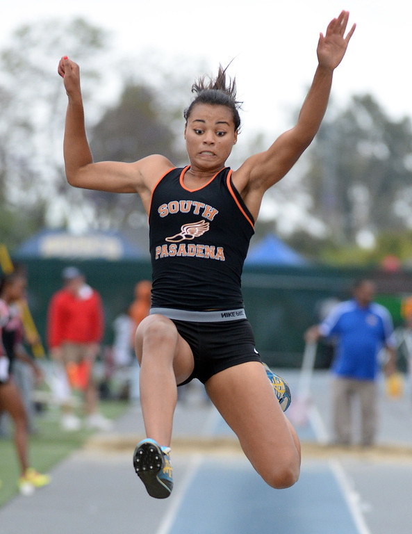 . South Pasadena\'s Jazmin Jackmon competes in the Division 3 long jump during the CIF Southern Section track and final Championships at Cerritos College in Norwalk, Calif., Saturday, May 24, 2014.   (Keith Birmingham/Pasadena Star-News)