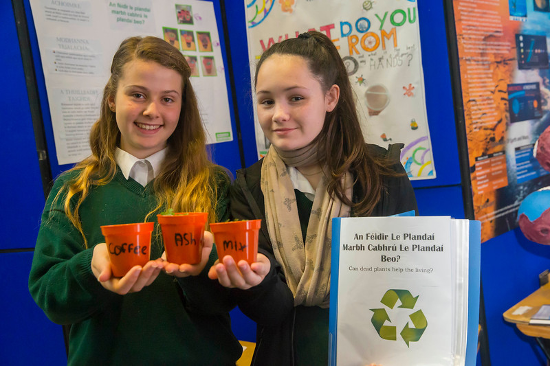 "01/05/2018. SciFest at WIT (Waterford Institute of Technology) at the Arena.Pictured are Rebecca Staff Cantwell and Robyn Shanahan from Ghaelcholaiste Phort Lairge with their project ""Can Dead Plants help Living Plants Grow"". Picture: Patrick Browne"