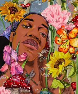 """Self Portrait In Spring"" (digital) by Bathscheba Derogene"