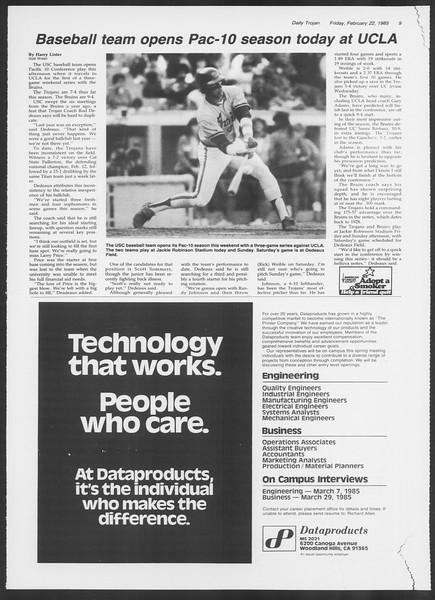Daily Trojan, Vol. 98, No. 29, February 22, 1985