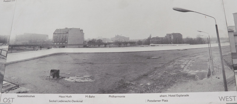 Photo Board showing the Berlin Wall dividing East and West Berlin.