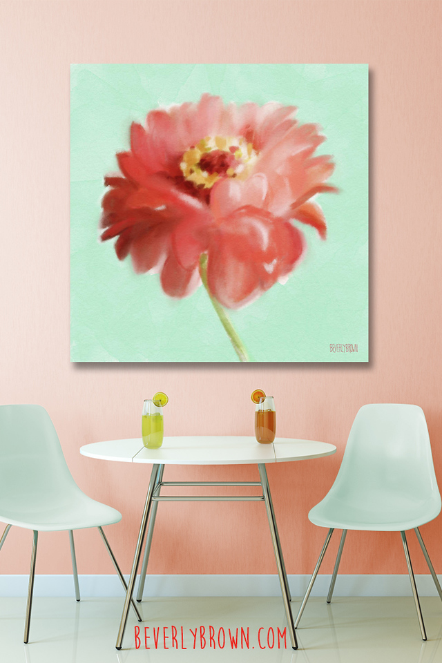 Coral and Mint Kitchen with Zinnia Canvas Floral Art by Beverly Brown