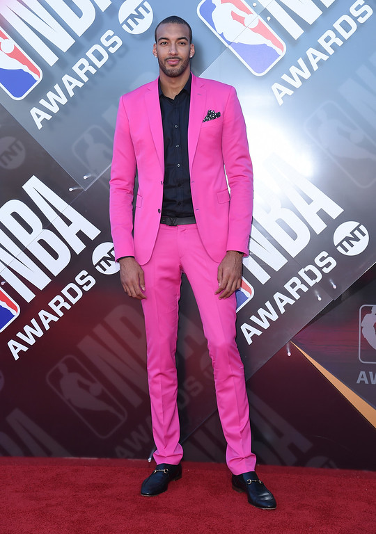 . NBA player Rudy Gobert, of the Utah Jazz, arrives at the NBA Awards on Monday, June 25, 2018, at the Barker Hangar in Santa Monica, Calif. (Photo by Richard Shotwell/Invision/AP)