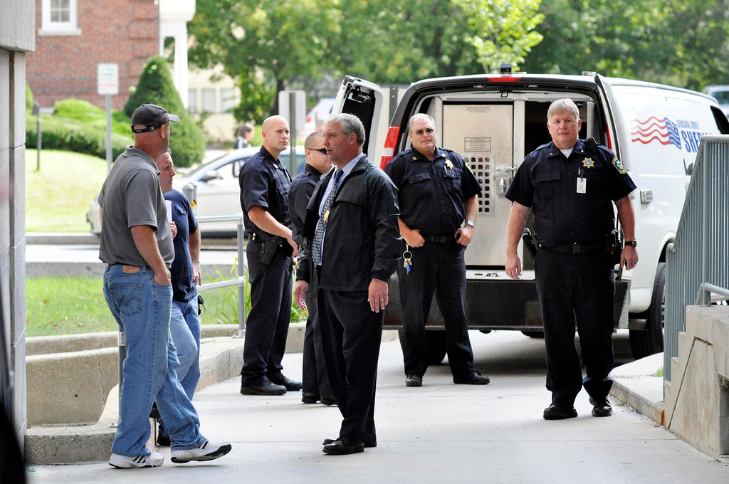 . Security at District court in Pittsfield included at least 20 officers from several law enforcement agencies while Adam Lee Hall was escorted into court for  arraignment on murder charges.  Mon Sept 12, 2011 (GARVER)