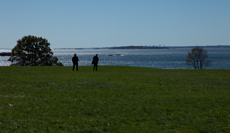 Moose and Mike silhouettes on Ocean Lawn of Coolidge Reservation
