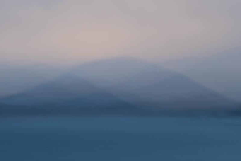 Ocean, mountain, clouds