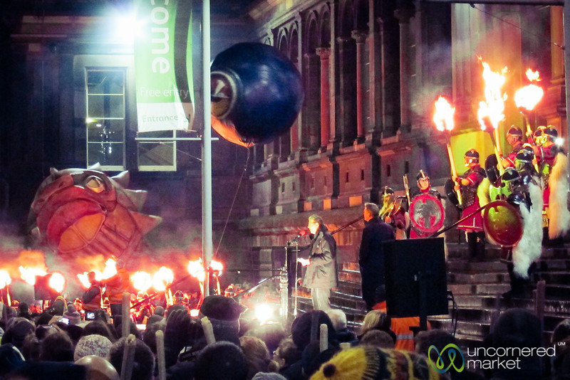 Up Helly Aa Vikings Lead off Torchlight Procession - Edinburgh, Scotland