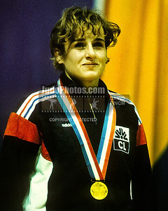 1989 Belgrade Worlds 19891014A17_Fleury_FRA: Chaterina Fleury of France proudly wears her 61kgs gold medal on day 3 of the Belgrade Worlds...