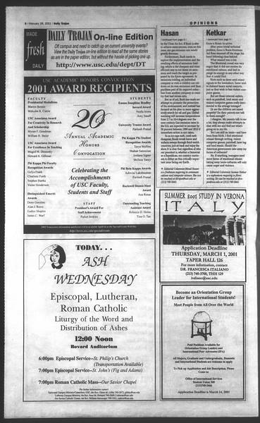 Daily Trojan, Vol. 142, No. 33, February 28, 2001