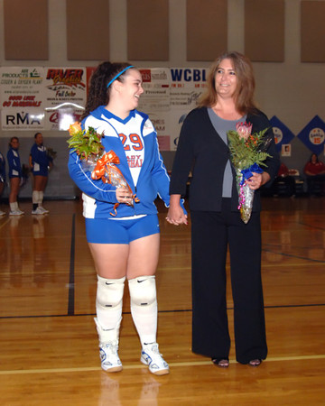 Marshall County Volleyball Senior Night Activities And Game vs. Community Christian Academy  -  October 4, 2007.  Marshals Lose 2-1.