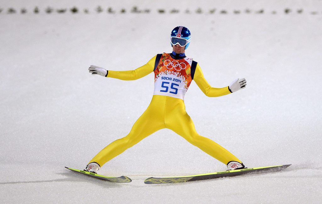 . Norway\'s Anders Bardal  arrives in the finish area during the Men\'s Ski Jumping Large Hill Individual qualification at the RusSki Gorki Jumping Center during the Sochi Winter Olympics on February 14, 2014 in Rosa Khutor near Sochi.  AFP PHOTO / PETER PARKS/AFP/Getty Images
