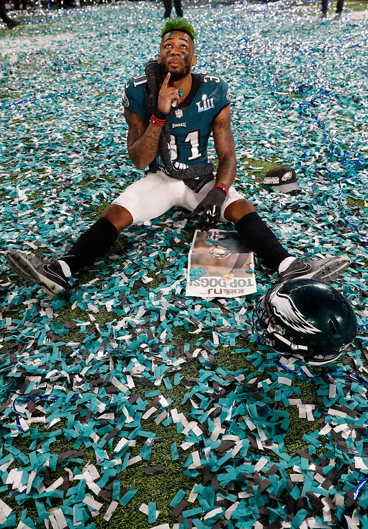 . Philadelphia Eagles\' Jalen Mills celebrates on the field after the NFL Super Bowl 52 football game against the New England Patriots, Sunday, Feb. 4, 2018, in Minneapolis. The Eagles won 41-33. (AP Photo/Matt York)
